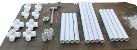 PVC pipe, fittings, and tools