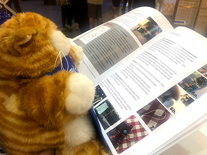 Portalina peruses the DIY Housing Accessories for Animal Shelters booklet